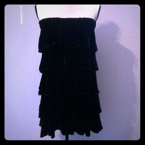 NEW Juicy Couture Black Silk Velvet Ruffle Dress L